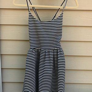Black & white striped A-line dress